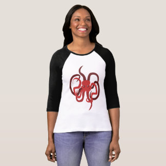 Octopus raglan t-shirt sea creature art tee-shirt