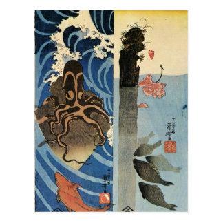 Octopus, Red Fish by Utagawa Kuniyoshi Postcard