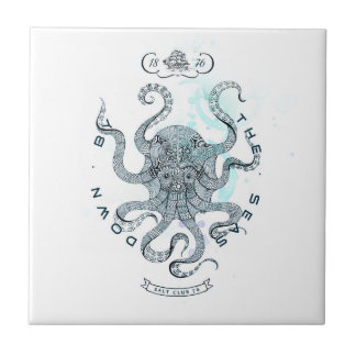 Octopus - Salt Club 76 - Down by the Sea Ceramic Tile
