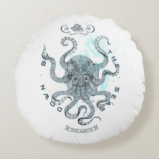 Octopus - Salt Club 76 - Down by the Sea Round Cushion
