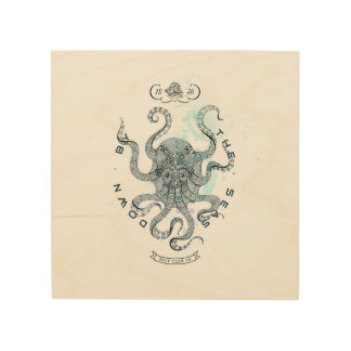 Octopus - Salt Club 76 - Down by the Sea Wood Print