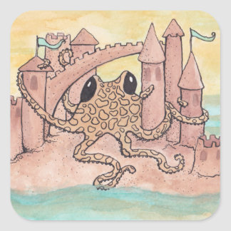 Octopus & Sandcastle Square Sticker