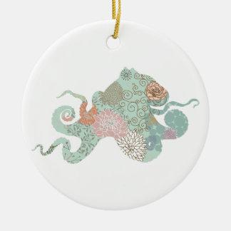 Octopus Silhouette flowers floral Round Ceramic Decoration