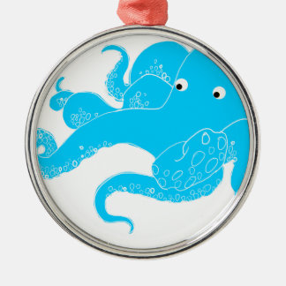 Octopus Silver-Colored Round Decoration
