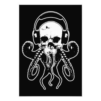 Octopus Skull DJ with Headphones Gothic Art Art Photo