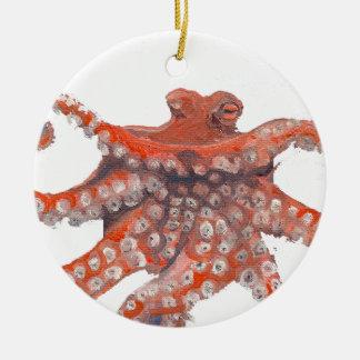 Octopus Squid Kraken Painting Round Ceramic Decoration