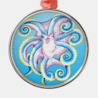 Octopus Stained Glass Metal Ornament