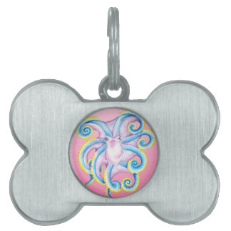 Octopus Stained Glass Pink Pet Tag