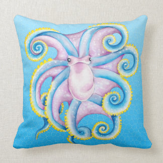 Octopus Stained Glass Throw Pillow
