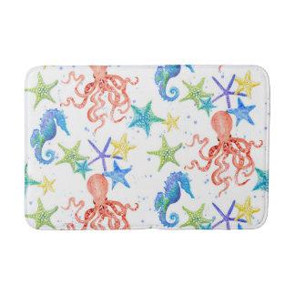 Octopus Starfish Seahorse Watercolor Beach Ocean Bath Mat