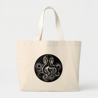 Octopus vintage woodcut engraved etched style large tote bag