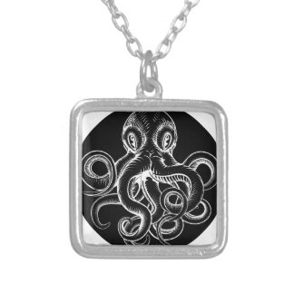 Octopus vintage woodcut engraved etched style silver plated necklace