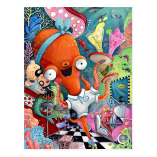 Octopus Waitress in Underwater Road Bar Postcard