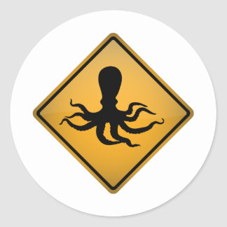 Octopus Warning Sign Classic Round Sticker
