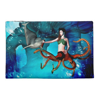 Octopus women with dolphin travel accessory bags