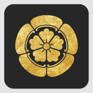 Oda Mon Japanese samurai clan faux gold on black Square Sticker