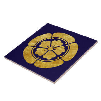 Oda Mon Japanese samurai clan faux gold on blue Large Square Tile