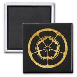 Oda Mon Japanese samurai clan gold on black Magnet