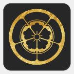 Oda Mon Japanese samurai clan gold on black Square Sticker