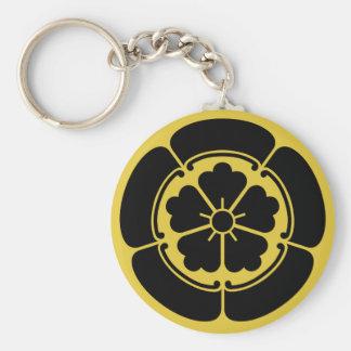 Oda Mon Japanese samurai clan yellow on black Basic Round Button Key Ring