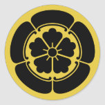 Oda Mon Japanese samurai clan yellow on black Round Sticker