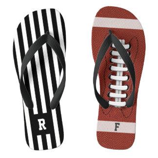 Odd American Football Referee Stripe Flip Flops