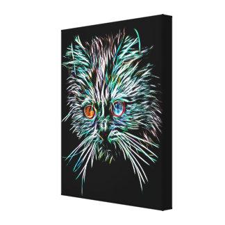 Odd-Eyed Glowing Cat Canvas Print