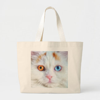 Odd-Eyed White Persian Cat Large Tote Bag
