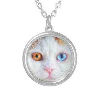 Odd-Eyed White Persian Cat Silver Plated Necklace
