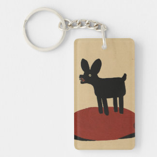 Odd Funny Looking Dog - Colorful Book Illustration Double-Sided Rectangular Acrylic Key Ring