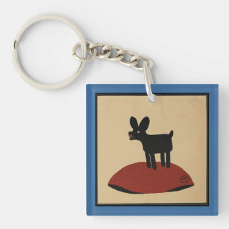 Odd Funny Looking Dog - Colorful Book Illustration Double-Sided Square Acrylic Key Ring