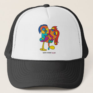 odd happy friends colorful illustration trucker hat