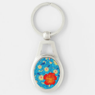 Odd one out Silver-Colored oval key ring