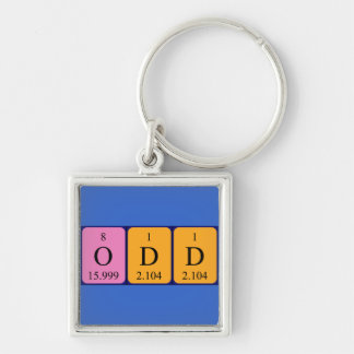 Odd periodic table name keyring Silver-Colored square key ring