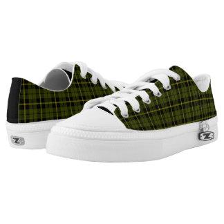 Odee, army, green plaid yellow/black stripe low tops