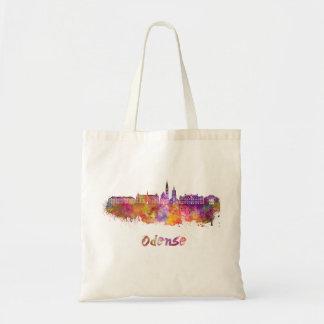 Odense skyline in watercolor tote bag