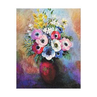 Odilon Redon Anemones - Fine Art Symbolism Canvas Print