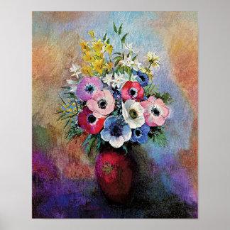 Odilon Redon Anemones - Fine Art Symbolism Poster