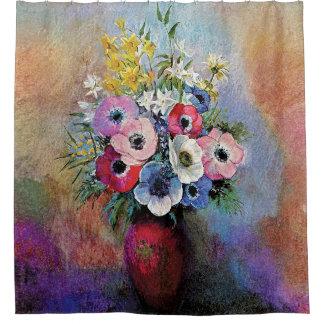 Odilon Redon Anemones - Fine Art Symbolism Shower Curtain