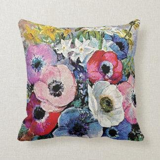 Odilon Redon Anemones Flowers - Fine Art Symbolism Cushion
