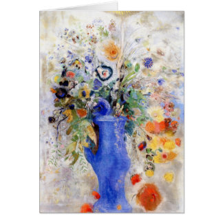 Odilon Redon - Large Bouquet in Pastel Blue Vase Card