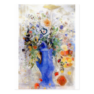 Odilon Redon - Large Bouquet in Pastel Blue Vase Postcard