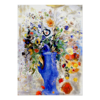 Odilon Redon - Large Bouquet in Pastel Blue Vase Poster