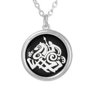 Odin and Sleipnir silhouettes Silver Plated Necklace
