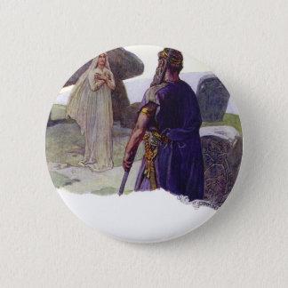 Odin in front of a Völva 6 Cm Round Badge