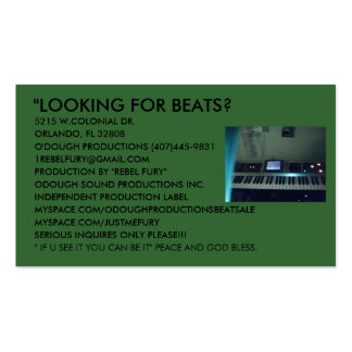ODOUGH SOUND PRODUCTIONS BUSINESS BEAT CARDS. PACK OF STANDARD BUSINESS CARDS