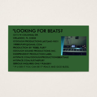 ODOUGH SOUND PRODUCTIONS BUSINESS BEAT CARDS. BUSINESS CARD