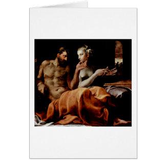 Odysseus And Penelope By Francesco Primaticcio Greeting Card