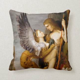 Oedipus and the Sphinx by Gustave Moreau Cushion