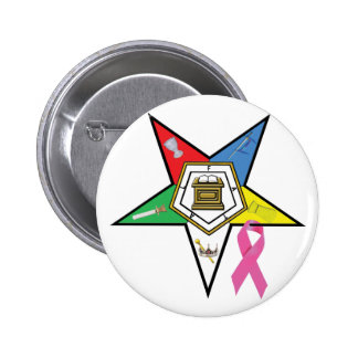 OES Breast Cancer Ribbon 6 Cm Round Badge